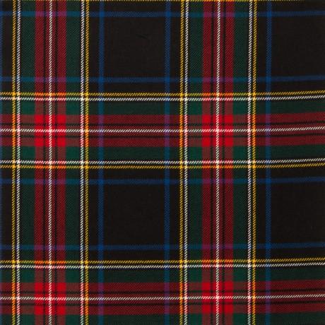 Stewart Black Modern Light Weight Tartan Fabric