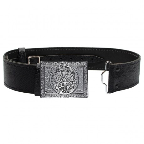 Triskell in Pewter Buckle and Leather Belt