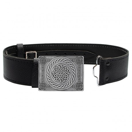 Celtic Knot 4 Dome in Pewter Buckle and Leather Belt