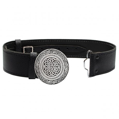 Wallace Circular Celtic Knot Buckle in Antique Silver Buckle and Leather Belt