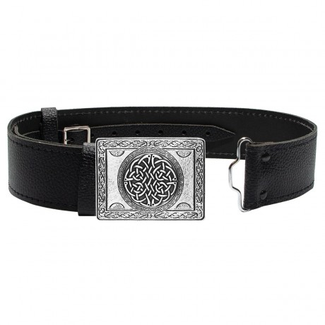 Wallace Rectangular Knot in Antique Silver Buckle and Leather Belt