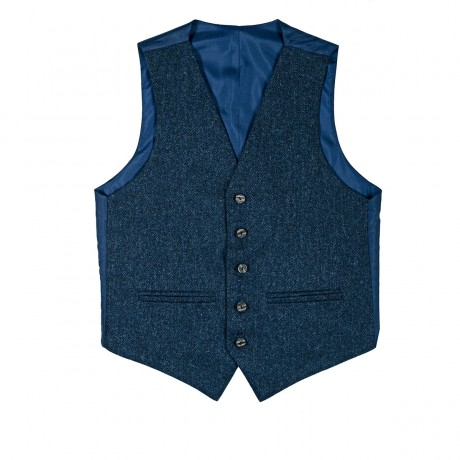 Ghillie Blue Shetland Tweed 5 Button Kilt Waistcoat