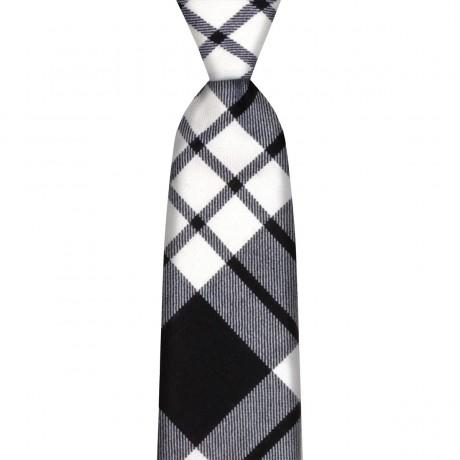 MacFarlane Black/White Modern Tartan Tie