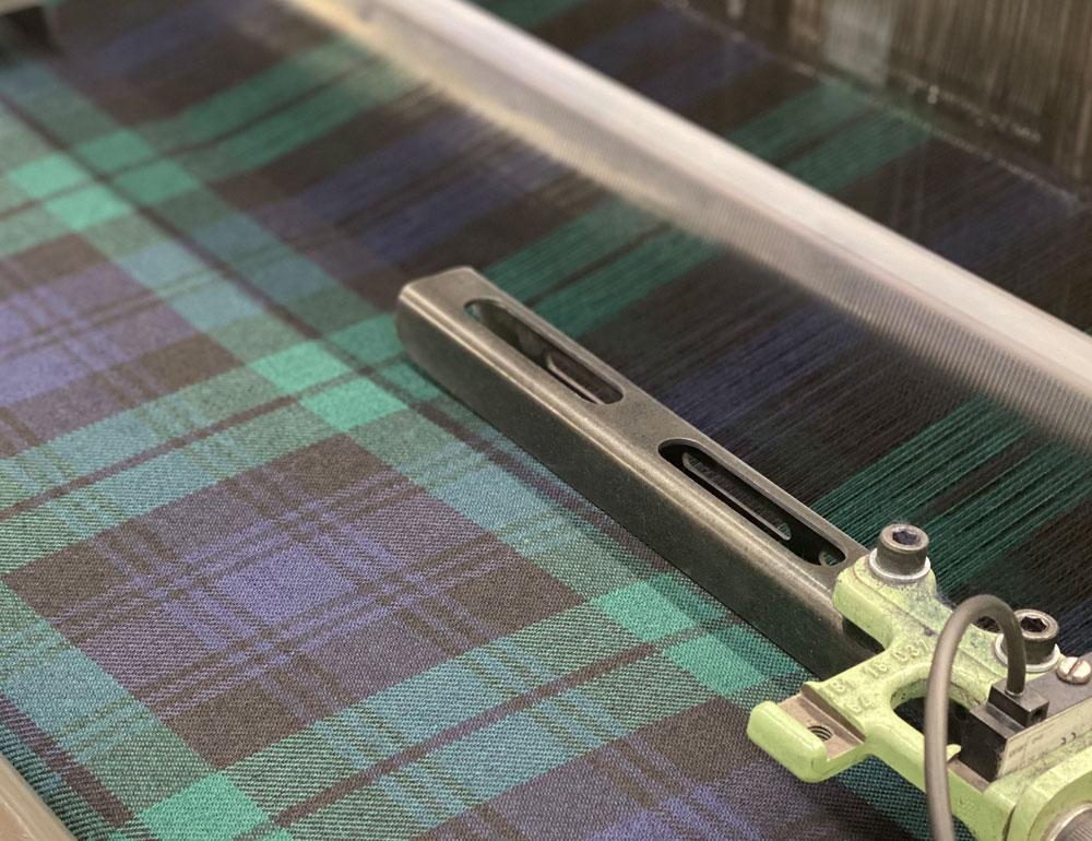 Black Watch Fabric on Weaving Loom